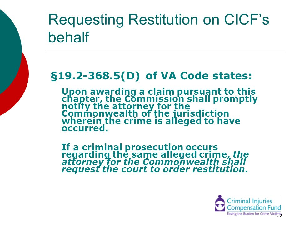 Requesting Restitution on CICF's behalf