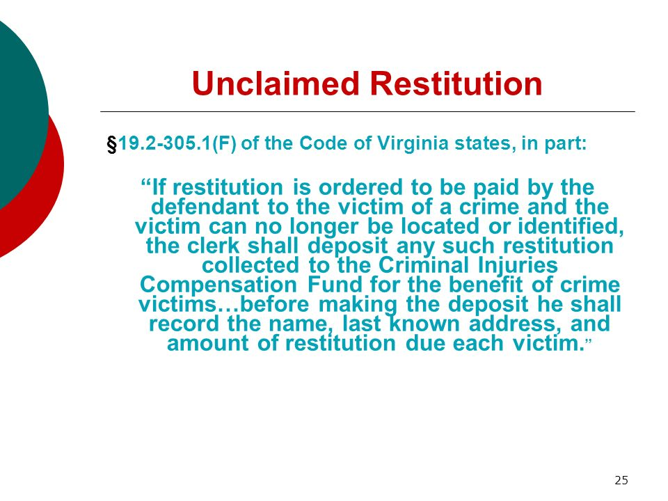 Unclaimed Restitution