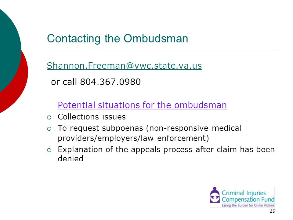 Contacting the Ombudsman