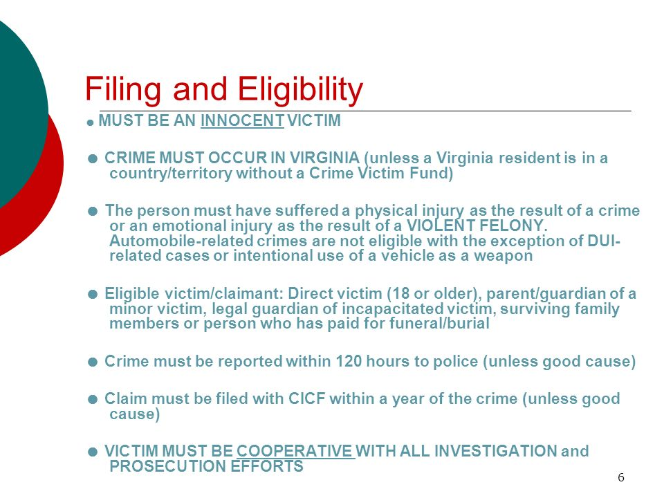 Filing and Eligibility