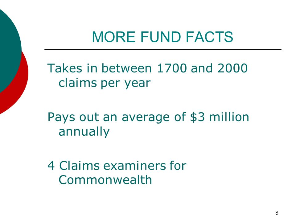 MORE FUND FACTS Takes in between 1700 and 2000 claims per year