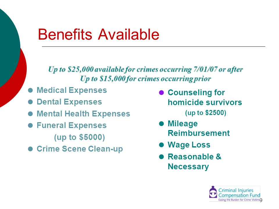 Benefits Available  Medical Expenses