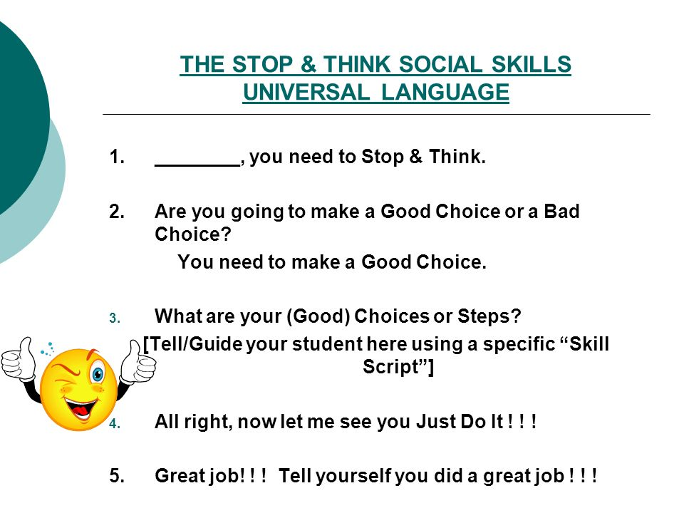 THE STOP & THINK SOCIAL SKILLS UNIVERSAL LANGUAGE
