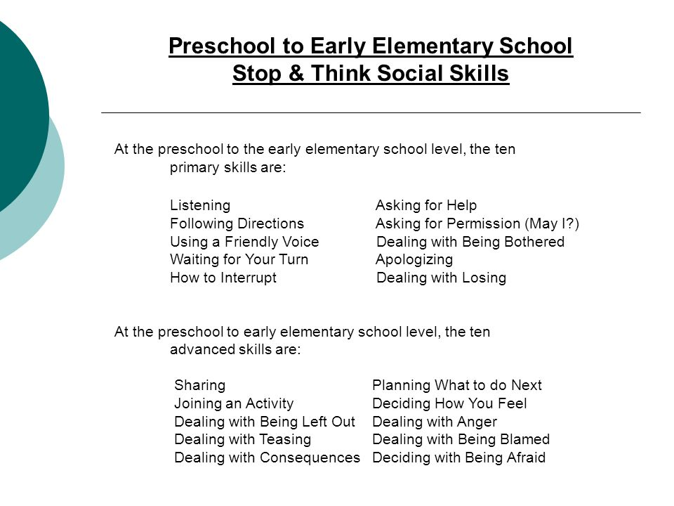Preschool to Early Elementary School Stop & Think Social Skills