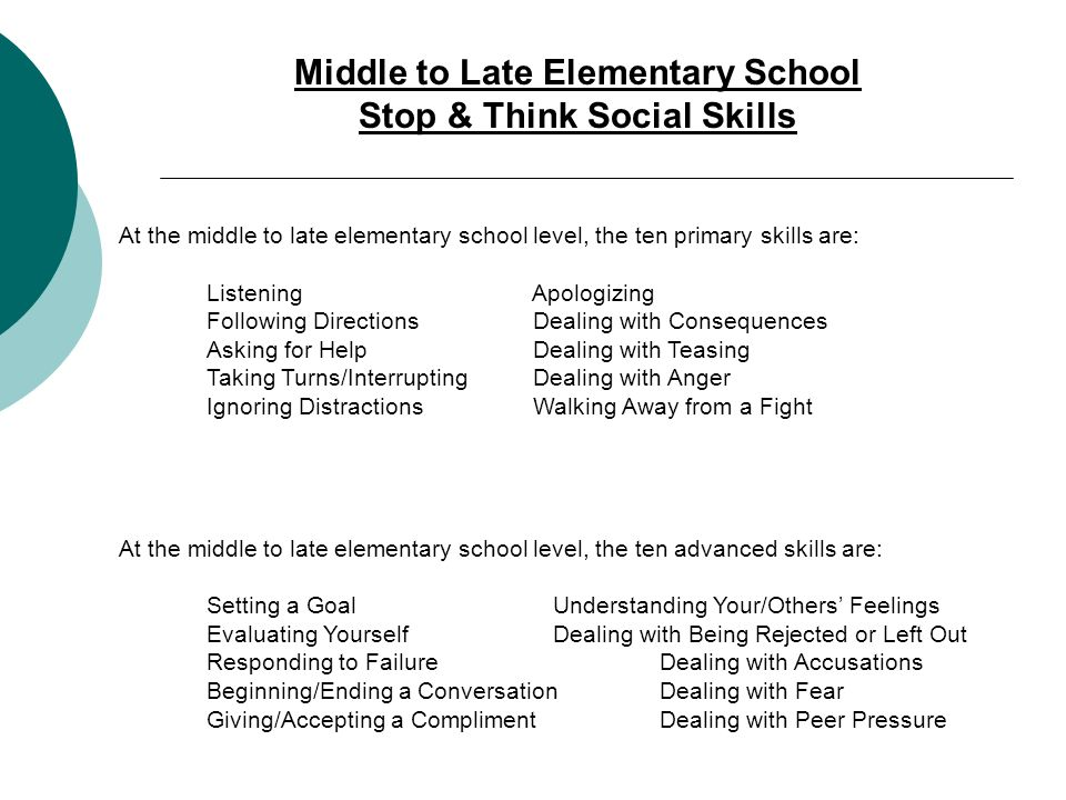 Middle to Late Elementary School Stop & Think Social Skills