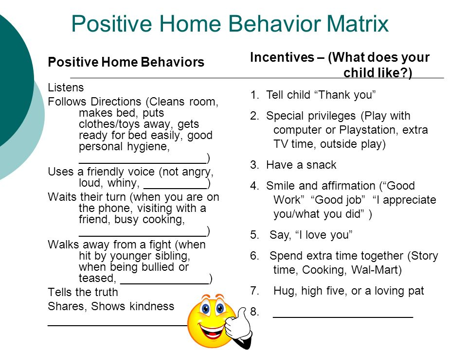Positive Home Behavior Matrix