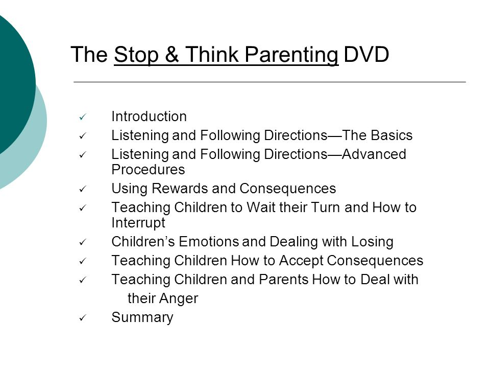 The Stop & Think Parenting DVD