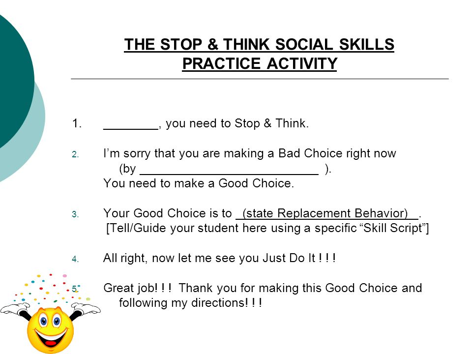 THE STOP & THINK SOCIAL SKILLS PRACTICE ACTIVITY