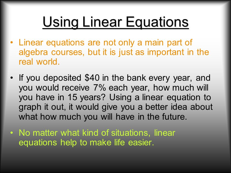 Using Linear Equations