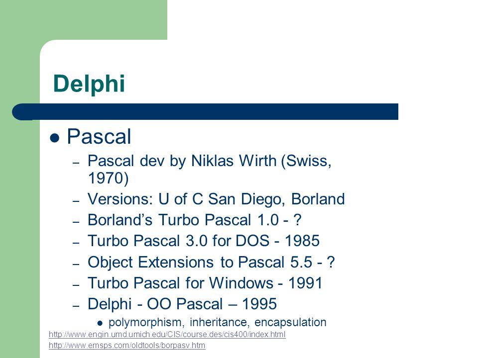 Delphi Pascal Pascal dev by Niklas Wirth (Swiss, 1970)
