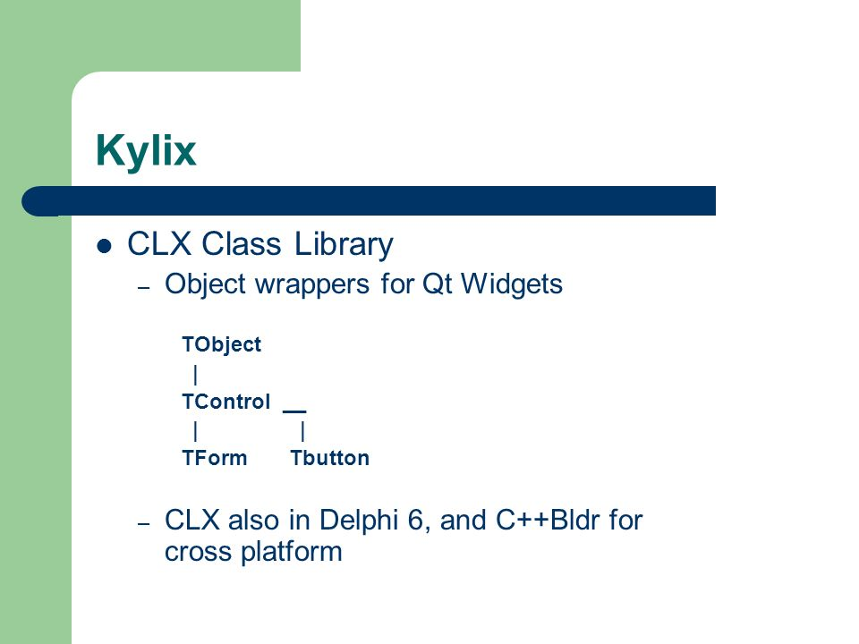 Kylix CLX Class Library Object wrappers for Qt Widgets
