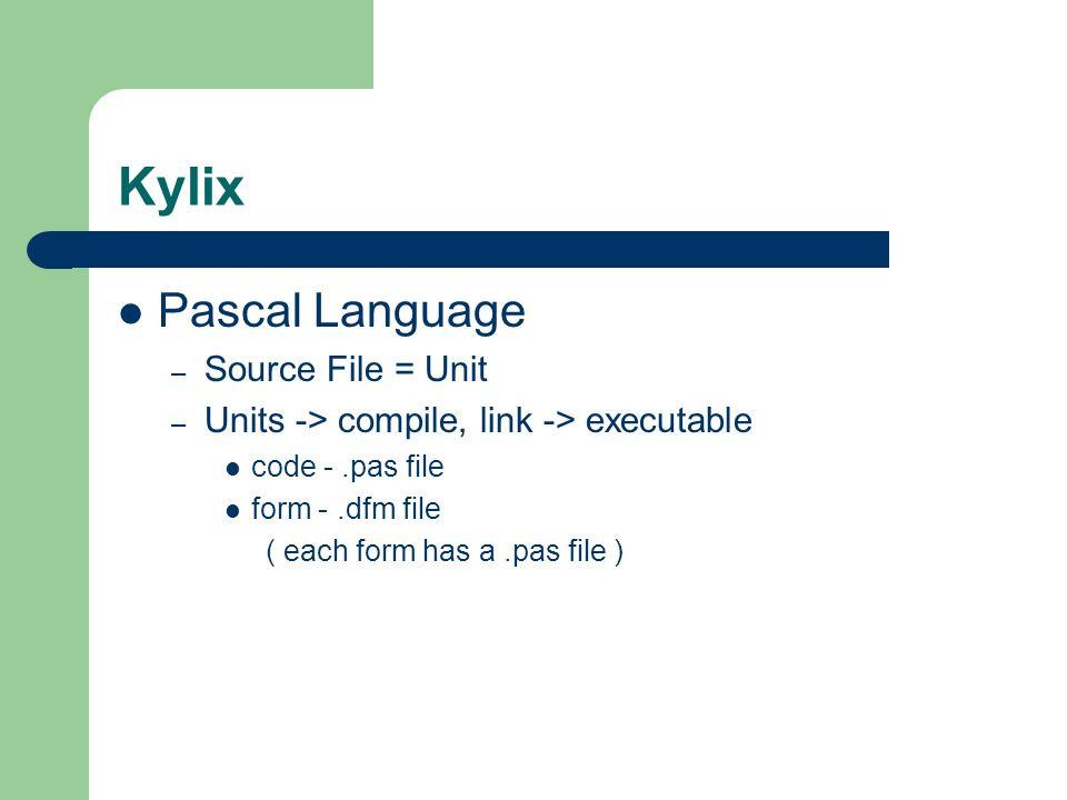 Kylix Pascal Language Source File = Unit