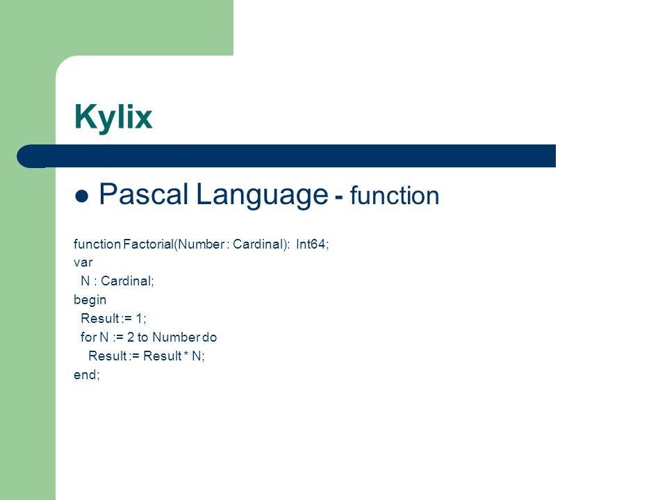 Kylix Pascal Language - function