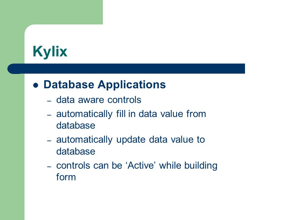 Kylix Database Applications data aware controls