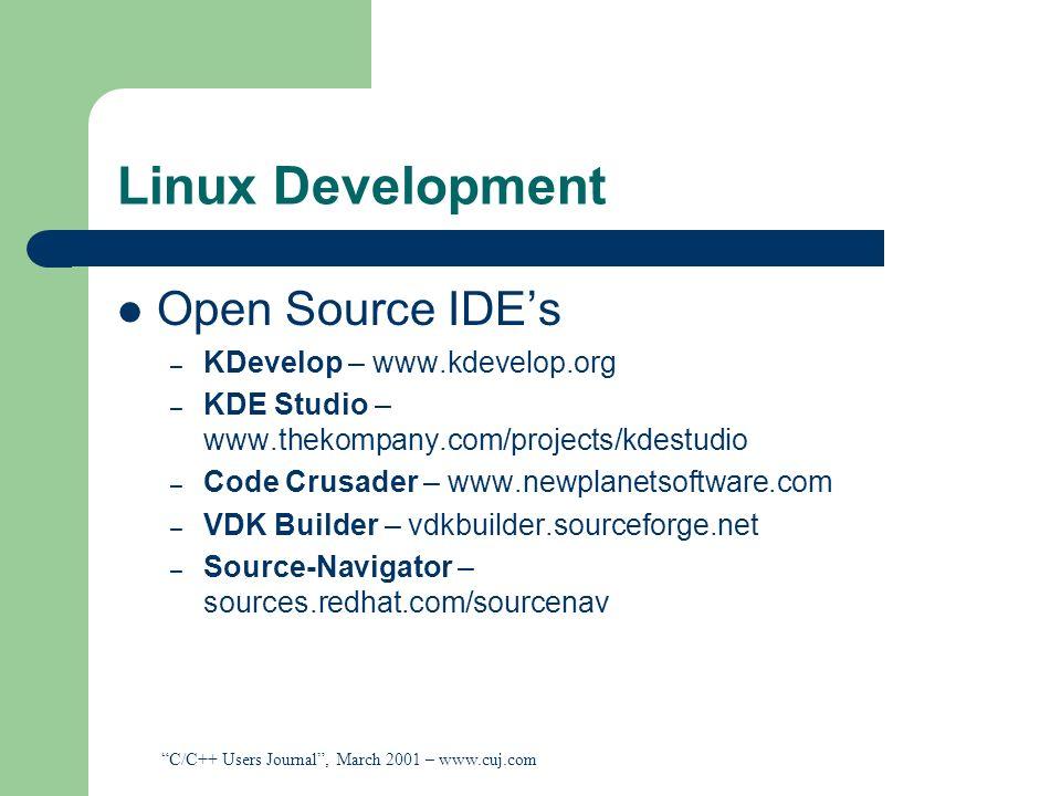 Linux Development Open Source IDE's KDevelop – www.kdevelop.org