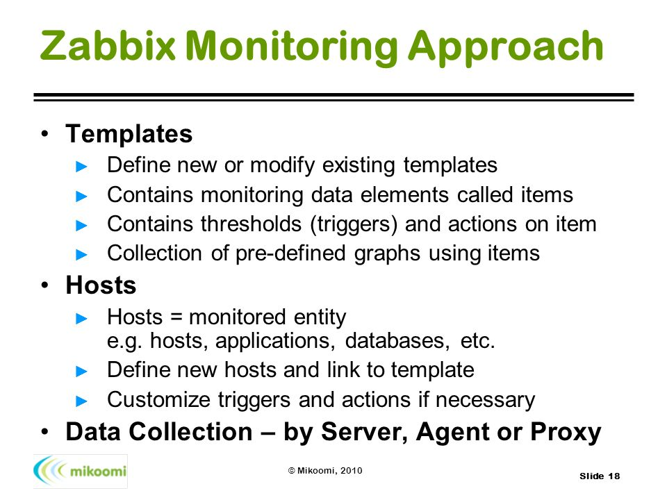 Zabbix Monitoring Approach