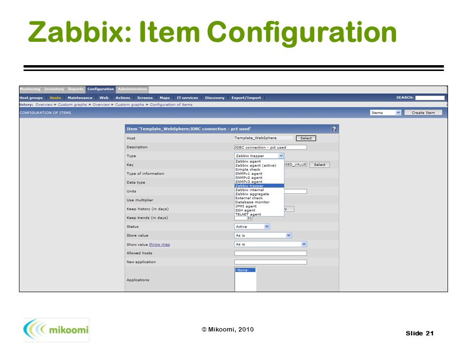 Zabbix: Item Configuration