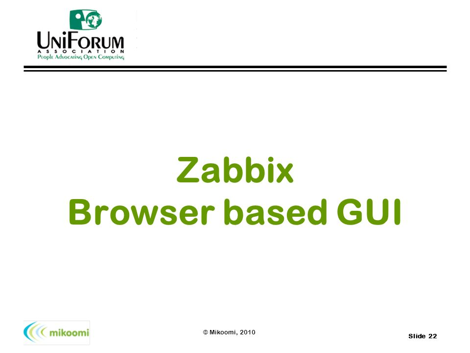 Zabbix Browser based GUI