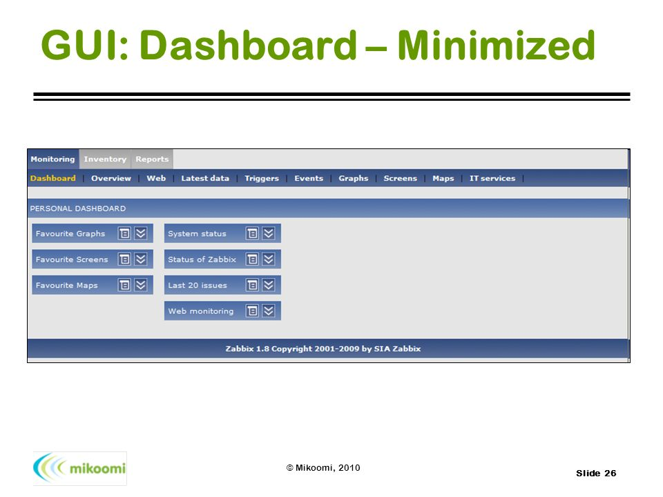 GUI: Dashboard – Minimized