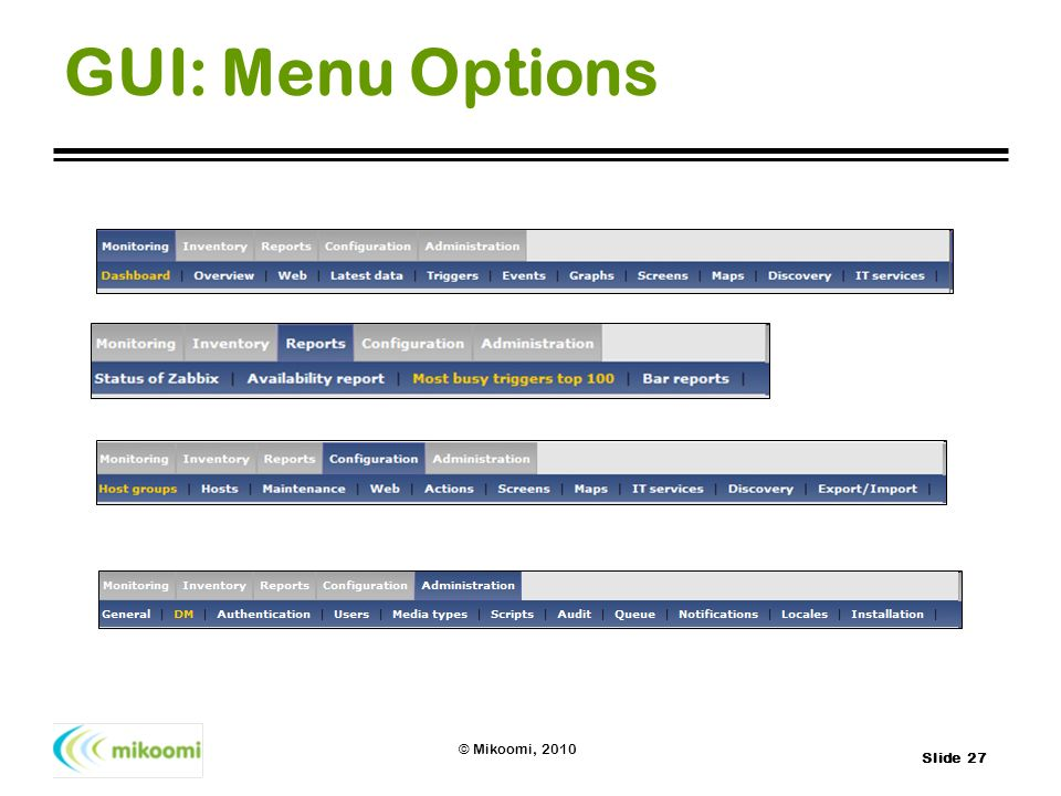 GUI: Menu Options