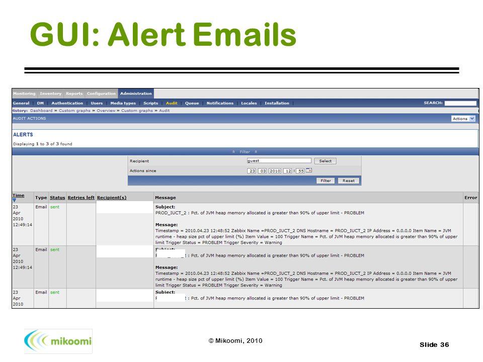 GUI: Alert Emails
