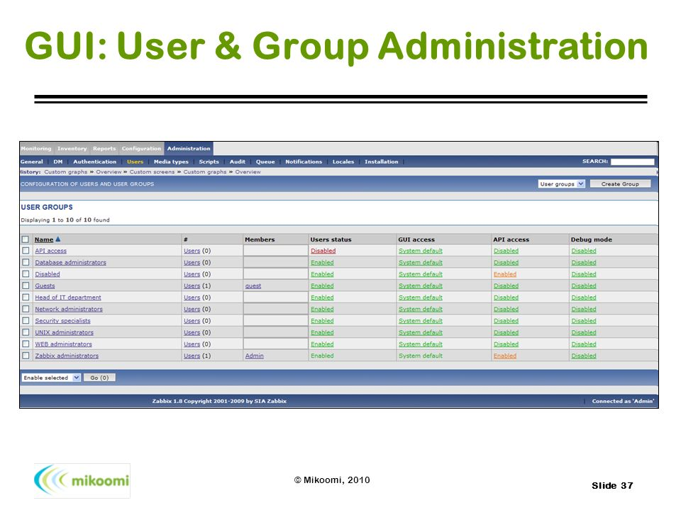GUI: User & Group Administration
