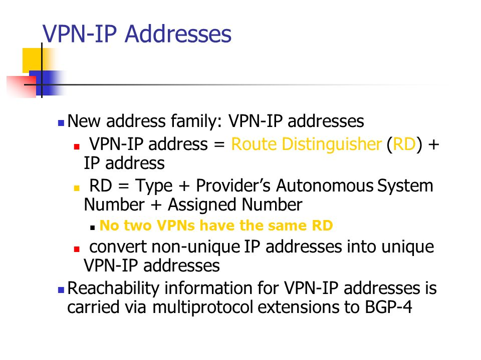 VPN-IP Addresses New address family: VPN-IP addresses