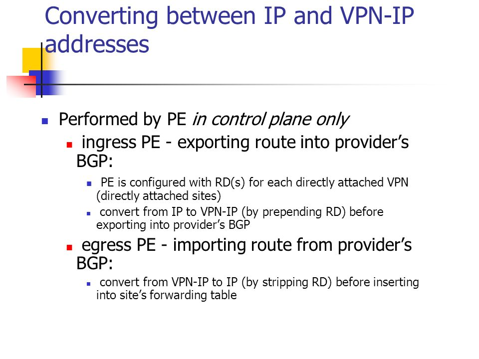 Converting between IP and VPN-IP addresses