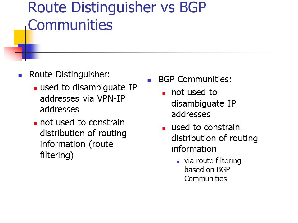 Route Distinguisher vs BGP Communities