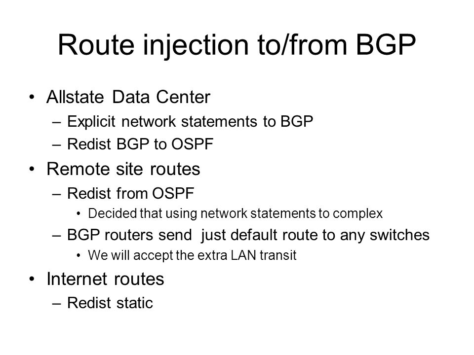 Route injection to/from BGP