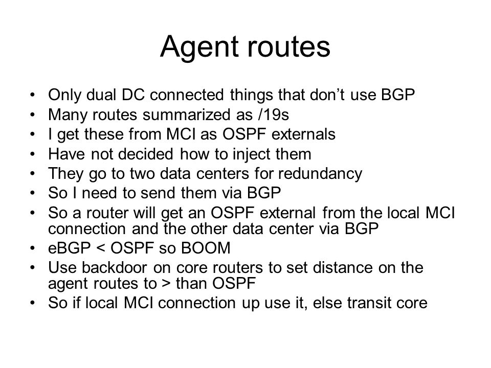 Agent routes Only dual DC connected things that don't use BGP