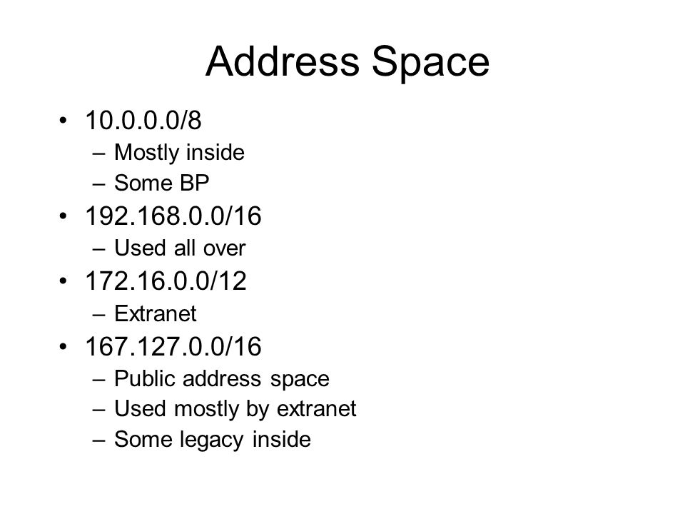 Address Space 10.0.0.0/8. Mostly inside. Some BP. 192.168.0.0/16. Used all over. 172.16.0.0/12.