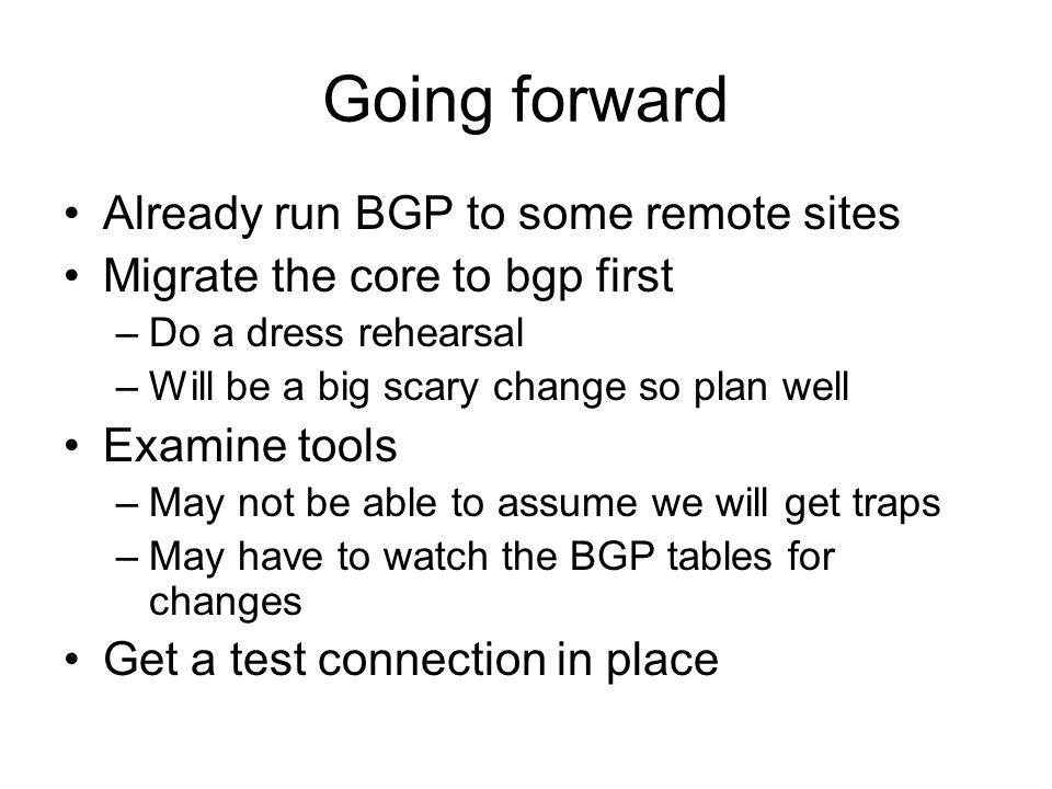 Going forward Already run BGP to some remote sites