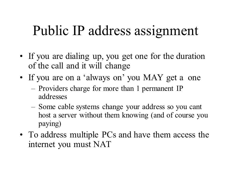 Public IP address assignment