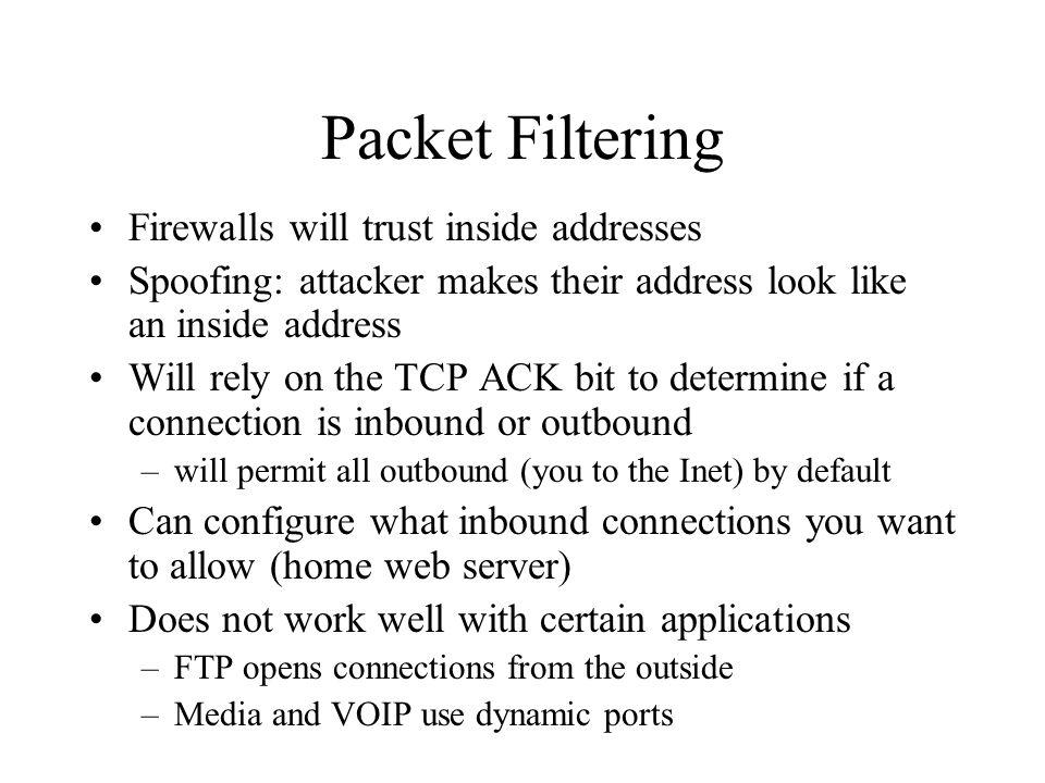 Packet Filtering Firewalls will trust inside addresses