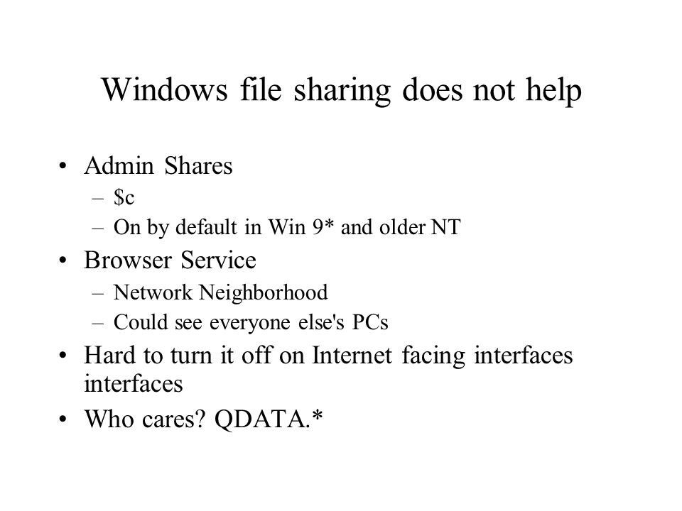 Windows file sharing does not help