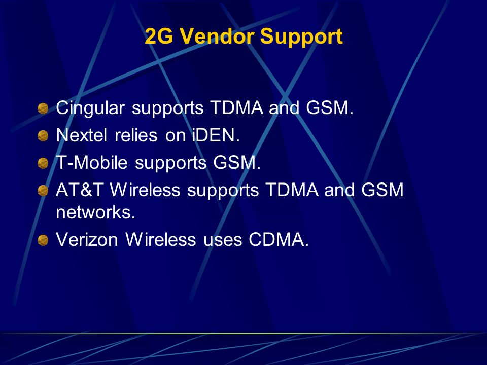 2G Vendor Support Cingular supports TDMA and GSM.