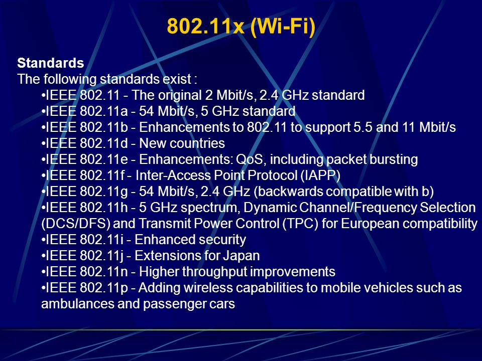 802.11x (Wi-Fi) Standards The following standards exist :
