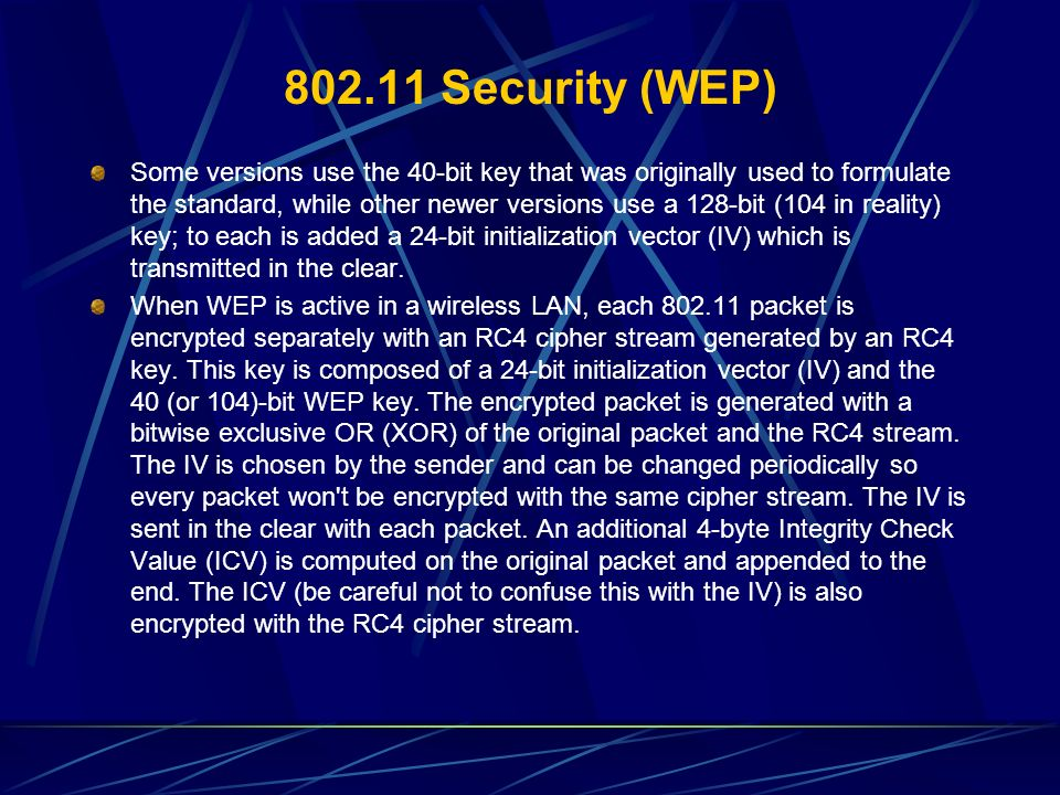 802.11 Security (WEP)