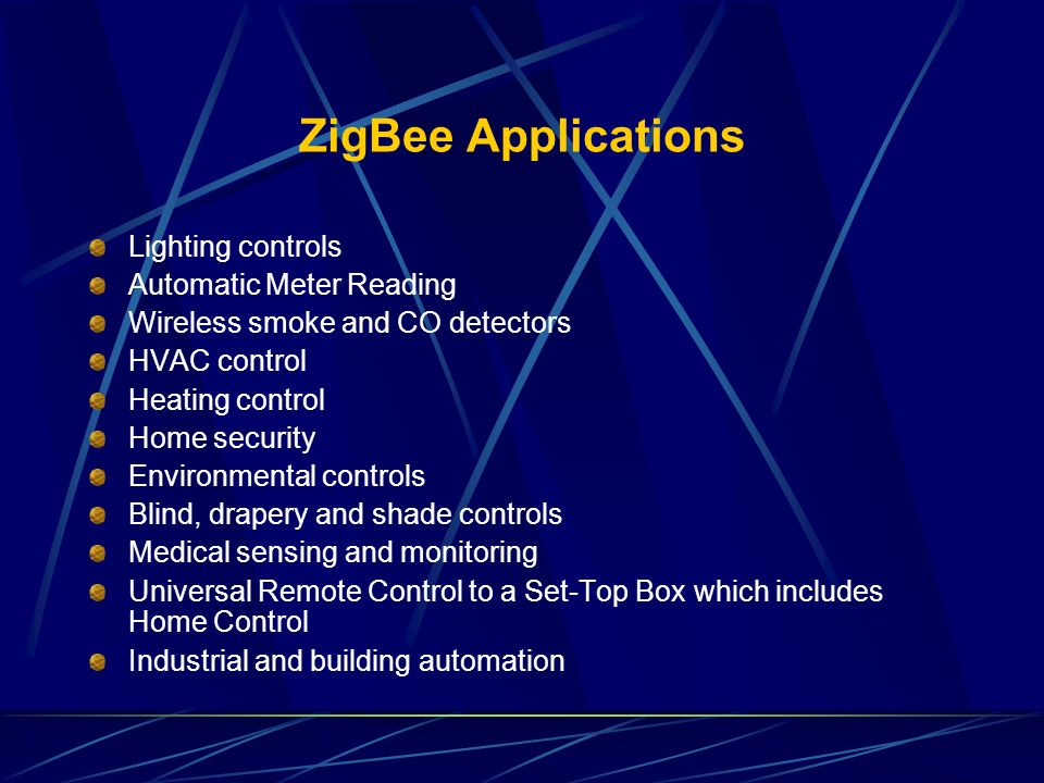 ZigBee Applications Lighting controls Automatic Meter Reading