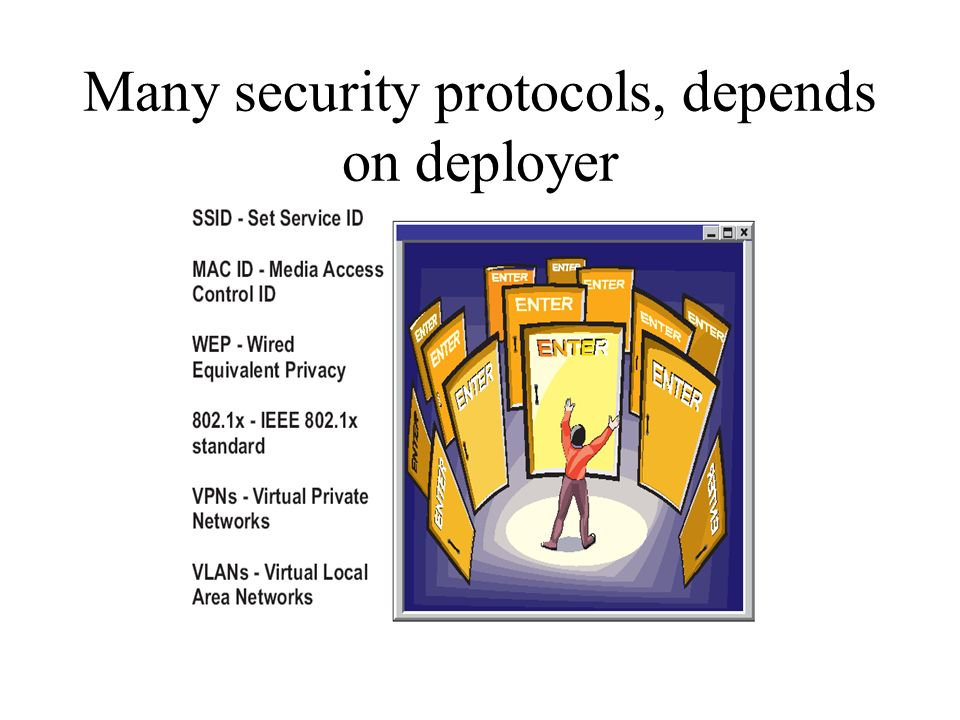 Many security protocols, depends on deployer