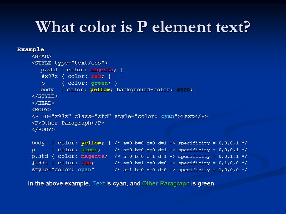 What color is P element text