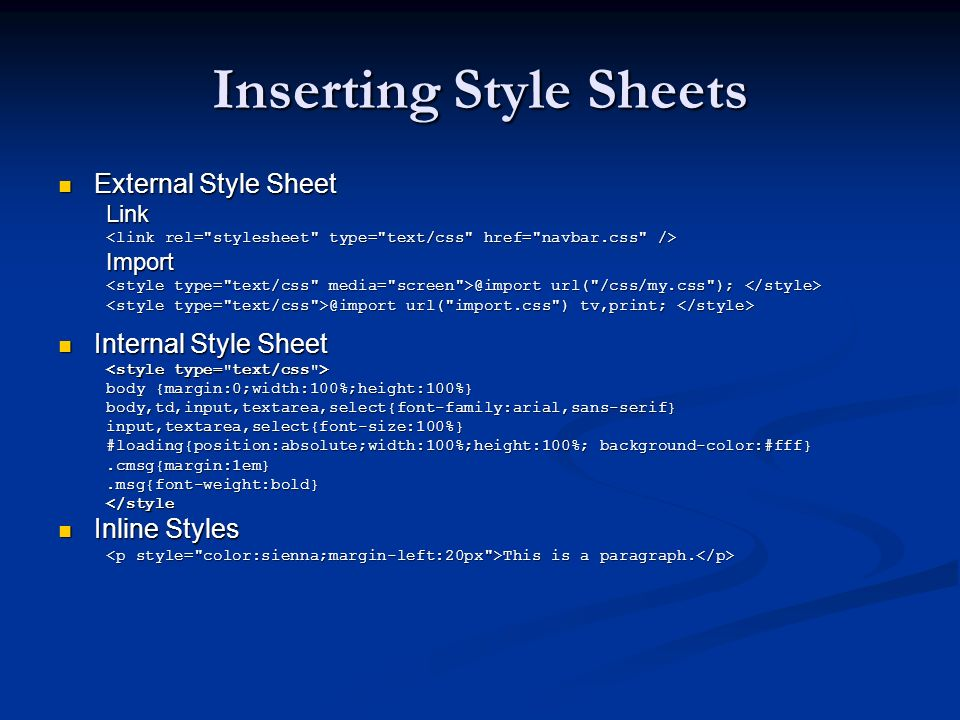 Inserting Style Sheets