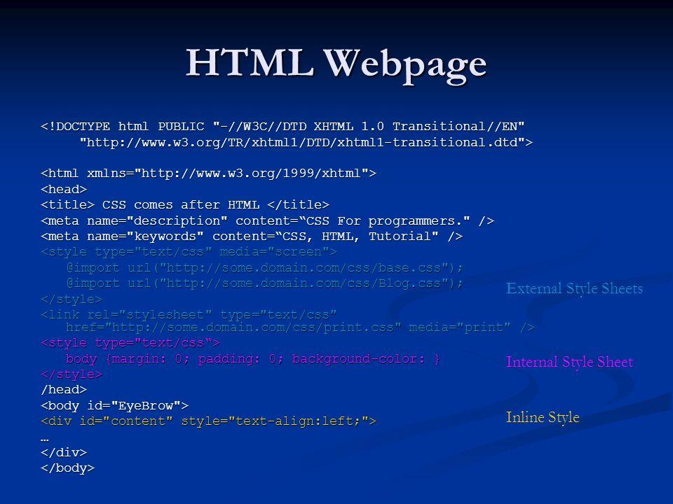 37 HTML Webpage External Style Sheets Internal Sheet Inline DOCTYPE PUBLIC W3C DTD XHTML 10 Transitional EN