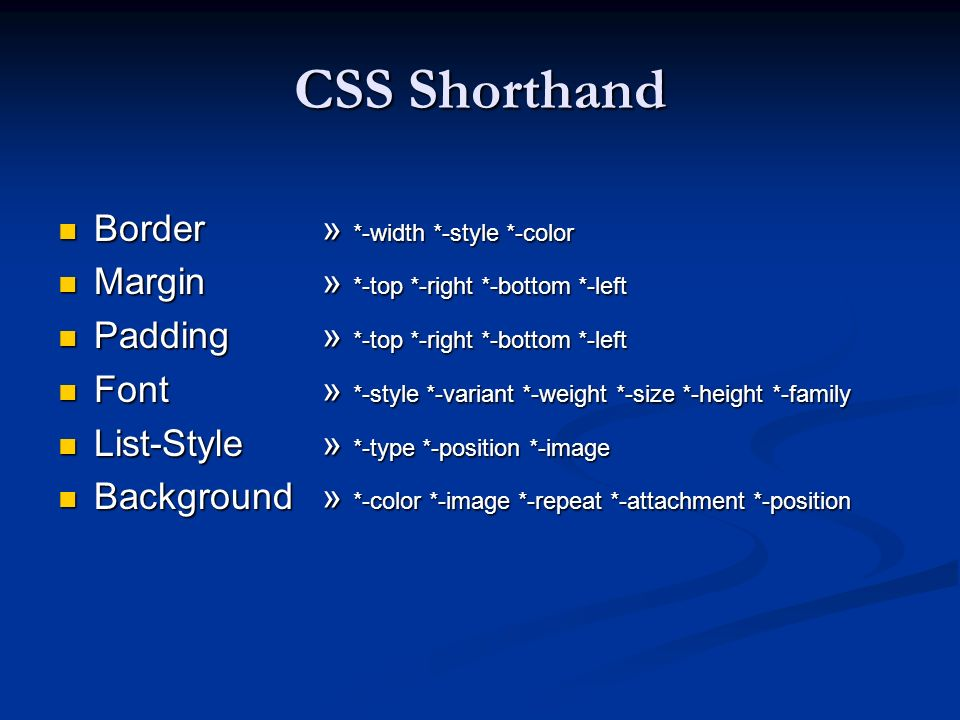 CSS Shorthand Border » *-width *-style *-color