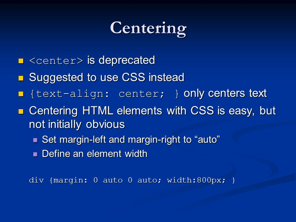 Centering <center> is deprecated Suggested to use CSS instead