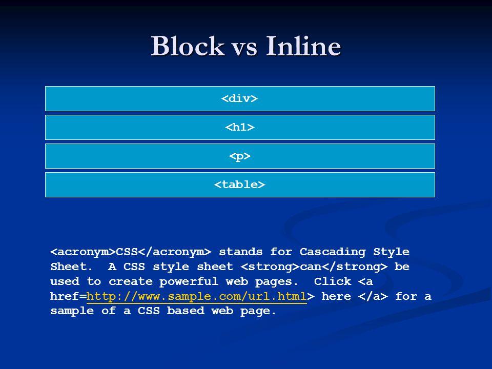 Block vs Inline <div> <h1> <p> <table>