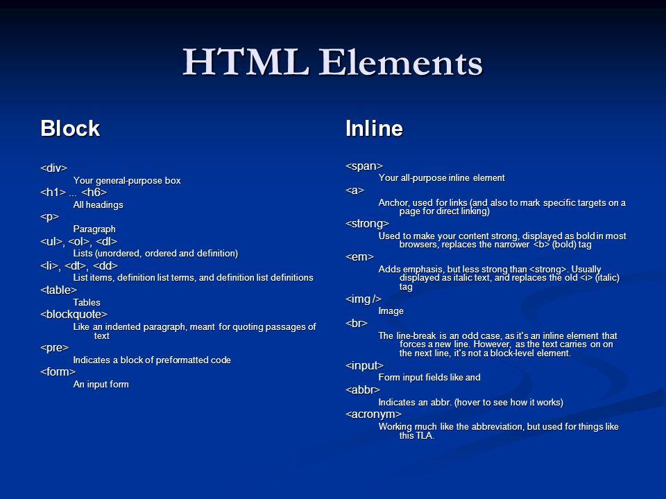 HTML Elements Block Inline <div> <span>