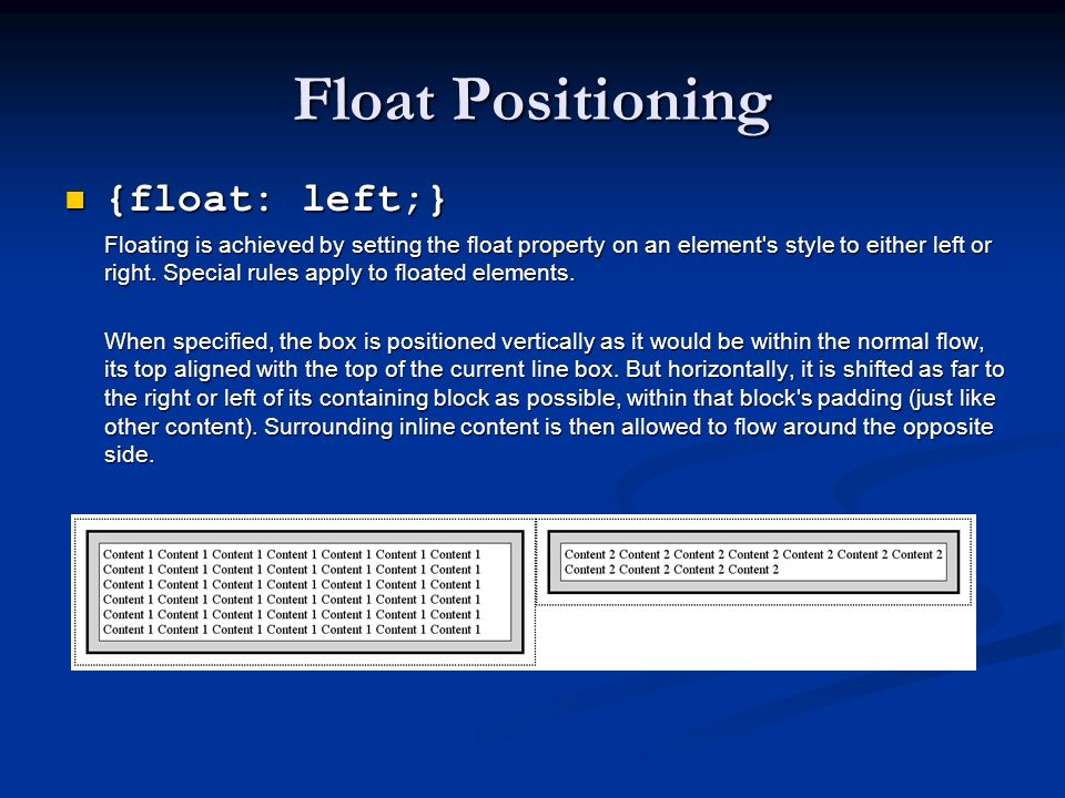 Float Positioning {float: left;}