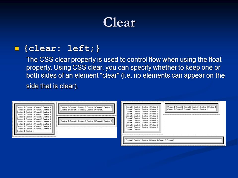 Clear {clear: left;}
